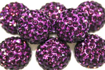 10mm Deep Purple 115 Stone Pave Crystal Beads- Half Drilled PCBHD10-115-030